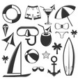 set summer season objects in vintage vector image vector image