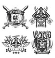 set viking emblems vector image vector image