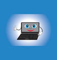 smiling animate laptop isolated gradient vector image vector image