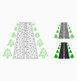 straight road alley mesh network model and vector image vector image
