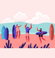 surf party on exotic seaside resort sportsmen vector image vector image