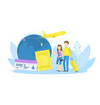 tiny male and female tourists with suitcase vector image