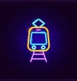 tram front neon label vector image
