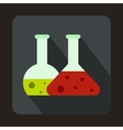 Transparent flasks with green and red liquid icon vector image vector image