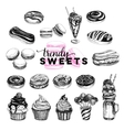 Trendy sweets set in sketch vector image vector image