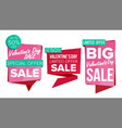 valentine s day sale banner set discount vector image