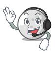 with headphone golf ball mascot cartoon vector image