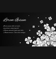 with paper white flowers dark background and place vector image