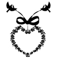 heart with ribbon and birds frame vector image