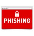 phishing alert on opened internet browser window vector image