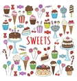 Sweets set icons hand drawn doodle vector image