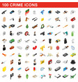 100 crime icons set isometric 3d style vector image vector image