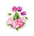 3d realistic peony tulip elegant bouquet vector image vector image