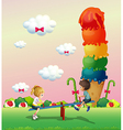 A girl and a boy playing at the park with a giant vector image vector image