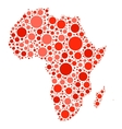 Africa map mosaic of red dots vector image