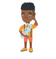 african-american boy crying and holding toy vector image