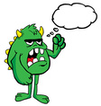 angry monster with thought bubble vector image vector image