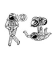 astronaut spaceman with balloons moon sun earth vector image vector image