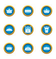 attire crown icons set flat style vector image vector image