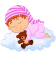 Baby sleeping on the cloud vector image