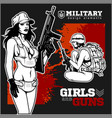 beautiful pinup girls holding a gun vector image