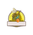Bee Carrying Honey Pot Skep Circle Drawing vector image vector image