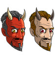 cartoon sly red devil man with horns and beard vector image vector image