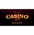casino luxury 3d alphabet gold logotype vector image