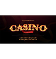 casino luxury 3d alphabet gold logotype with vector image vector image