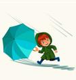 children walking under raining sky with an vector image vector image