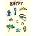 colored egypt icons set vector image