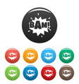 comic boom bam icons set color vector image
