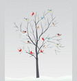 cute birds with tree branch on winter scene vector image