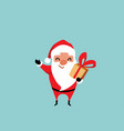 cute christmas santa claus waves with one hand and vector image vector image