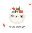 Cute sloth in autumn wreath on white background