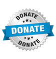 Donate 3d silver badge with blue ribbon