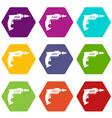 drill icon set color hexahedron vector image vector image