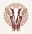 elephant on mandala background vector image vector image