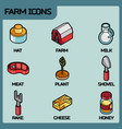 farm color outline isometric icons vector image