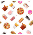 fast food set seamless pattern vector image vector image