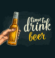 female hand holding open beer bottles time to vector image
