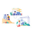 flat set with programmer builder and architect vector image vector image