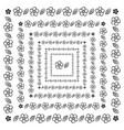 flower brush pattern in a square line black shape vector image vector image