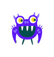funny blue toothy cartoon monster fabulous vector image vector image