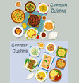 german cuisine lunch icon set with meat dishes vector image vector image