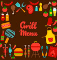 grill menu lettering postcard vector image