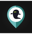 Halloween Ghost mapping pin icon vector image