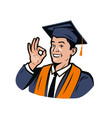 happy student in graduation gown and cap high vector image vector image