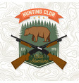 hunting club concept for shirt label vector image vector image