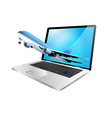 laptop and plane vector image vector image